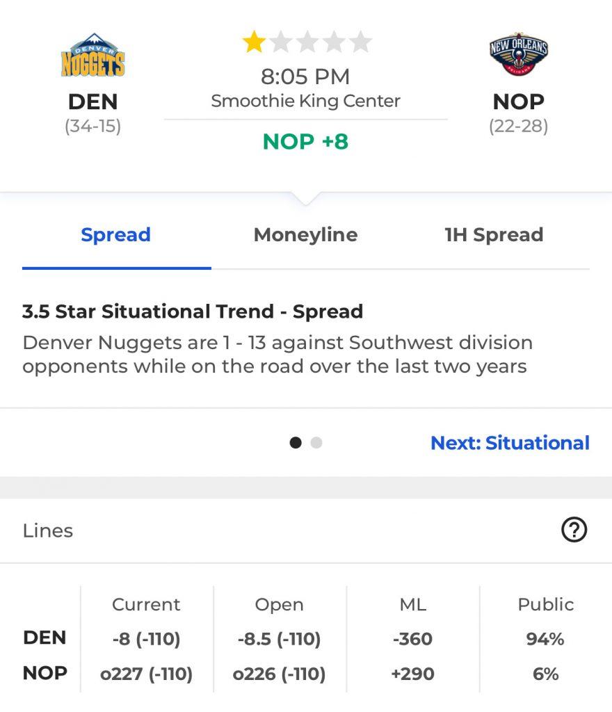 a65064312cb3 Denver Nuggets at New Orleans Pelicans (+8)